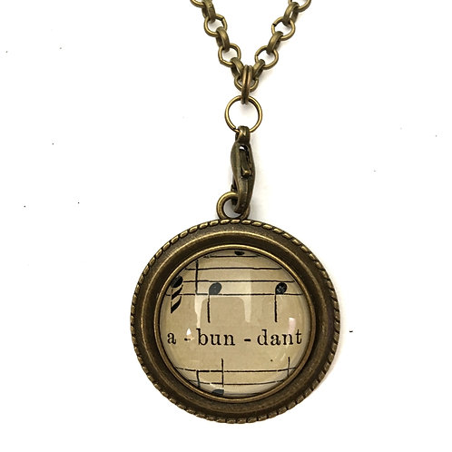 1893 Abundant Vintage Sheet Music Necklace