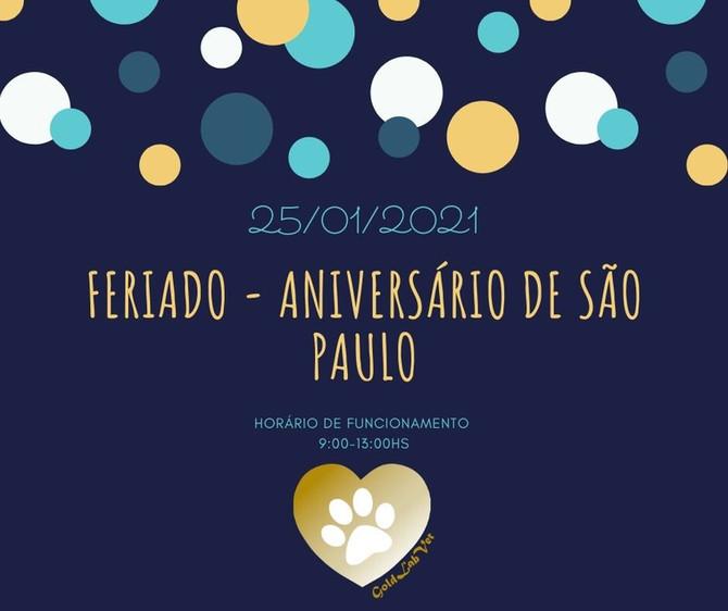 Horário de funcionamento dia 25/01/21 - Aniversário de São Paulo