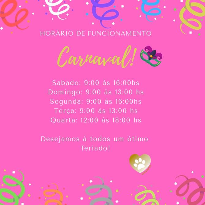 Fique ligado em nosso horário de funcionamento durante o carnaval!