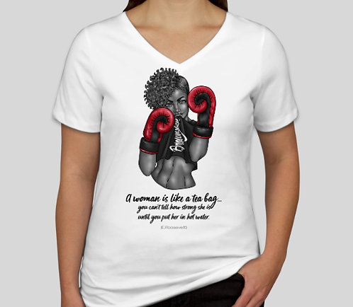 Boxing Girl Strength V-Neck