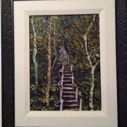 New Brunswick Stairmaster -Mary McLeod Oil - (9 x 1