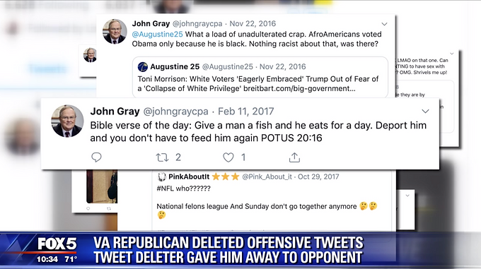 Virginia Republican candidate's attempt to delete offensive tweets tips off opponent in Prince William County