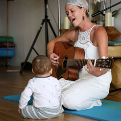 Teaching Mommy and Me Yoga at Kundalini Yoga by the Sea