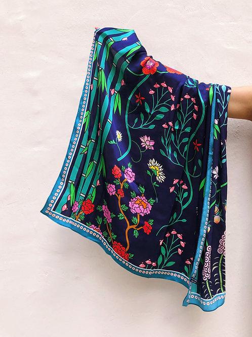 "100% silk scarf - ""Let Your Body Bloom"" (Big)"