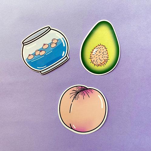 Vinyl Sticker Pack - Avocado / Fish Tank / Plum
