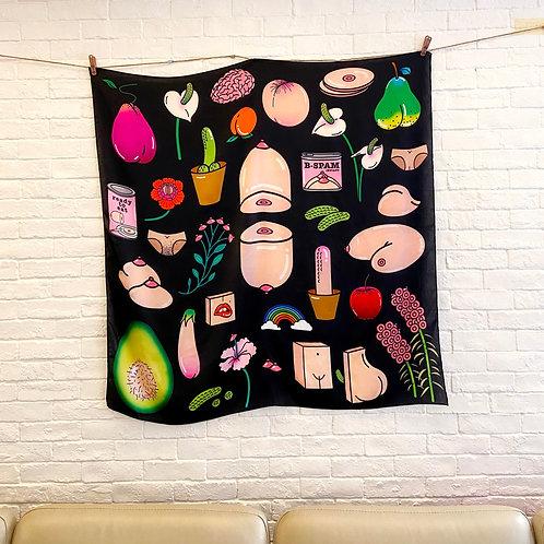 """100% silk scarf - """"Familiar Objects"""" (Big)"""