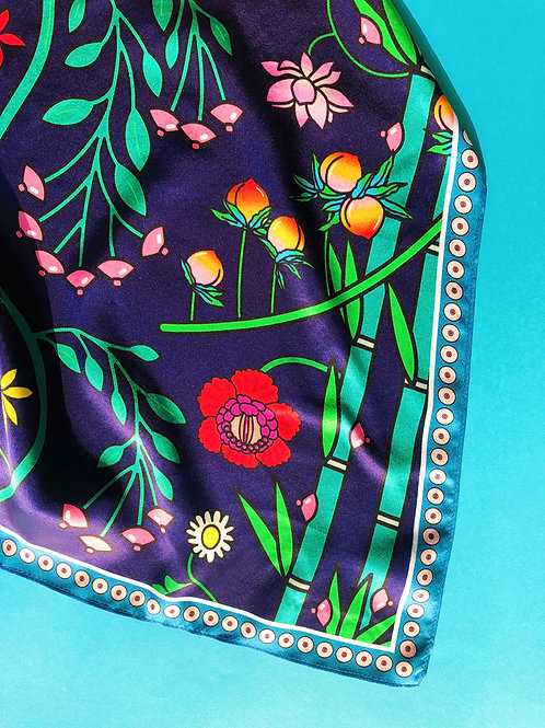 """100% silk scarf - """"Let Your Body Bloom"""" (Small)"""