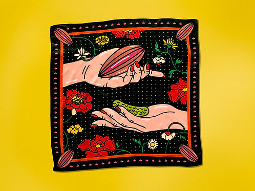 """100% silk scarf - """"Give And Take Relationship"""" (Small)"""