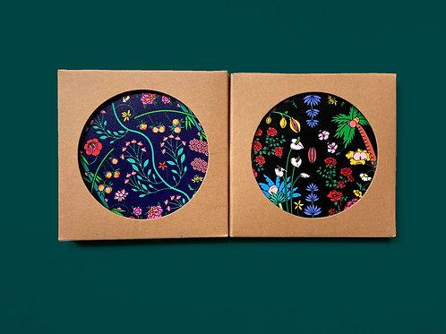 Set of 2 Ceramic Coasters with Cork Backing