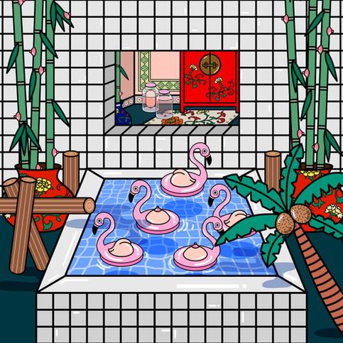 Babe Storks Bathing in The Hidden Room