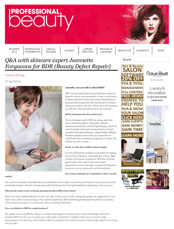 Q&A with skincare expert Jeannette Forgacova for BDR (Beauty Defect Repair)