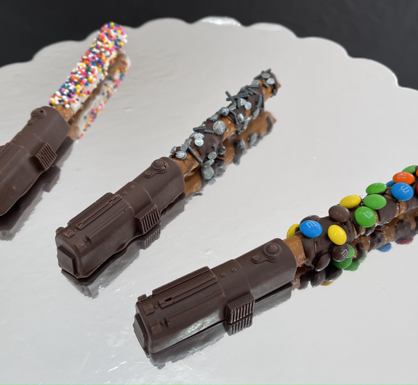 Chocolate Covered Pretzel Lightsabers (Decorated)   $12