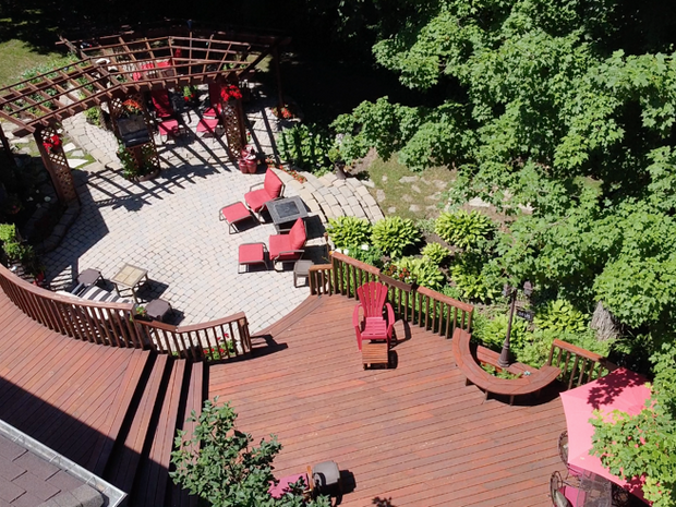 Aerial View of Deck & Stone Patio