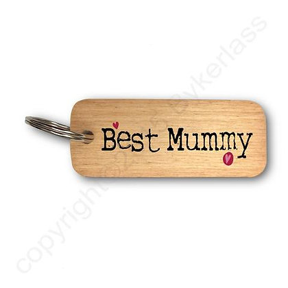 """Best Mummy"" Large Rustic Keyring"