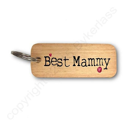 """Best Mammy"" Large Rustic Wooden Keyring"