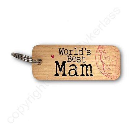 """Worlds Best Mam"" Large Rustic Keyring"