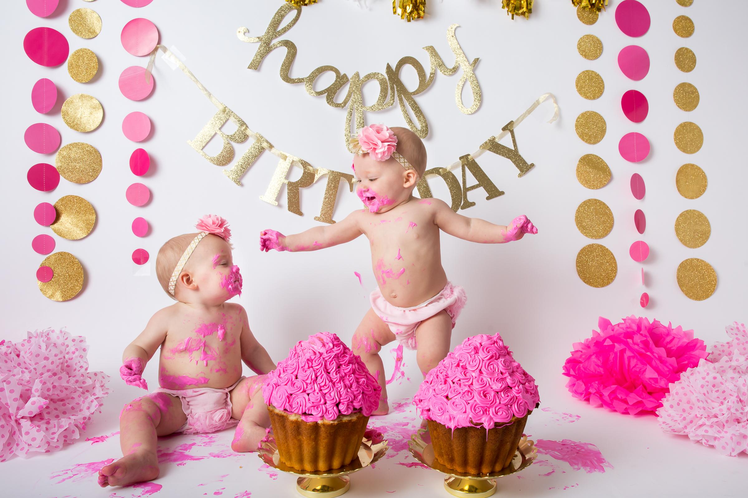 Cake Smash Twin Girl