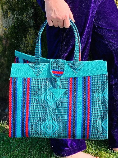 Shopper M Marrakesh turkoois-rood