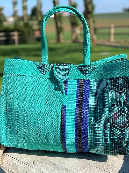 Shopper L half Marrakesh Turkoois-blauw