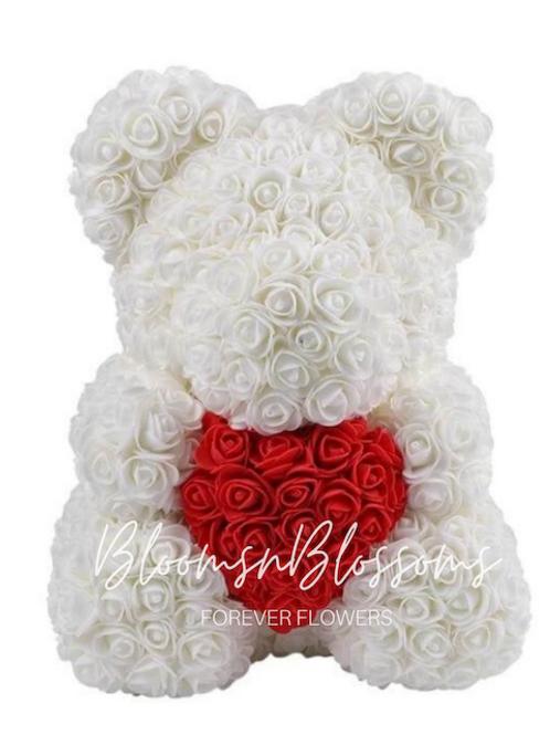 Rose Bear L White Red Heart