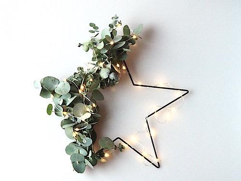 Kerstster met Eucalyptus en led lichtjes