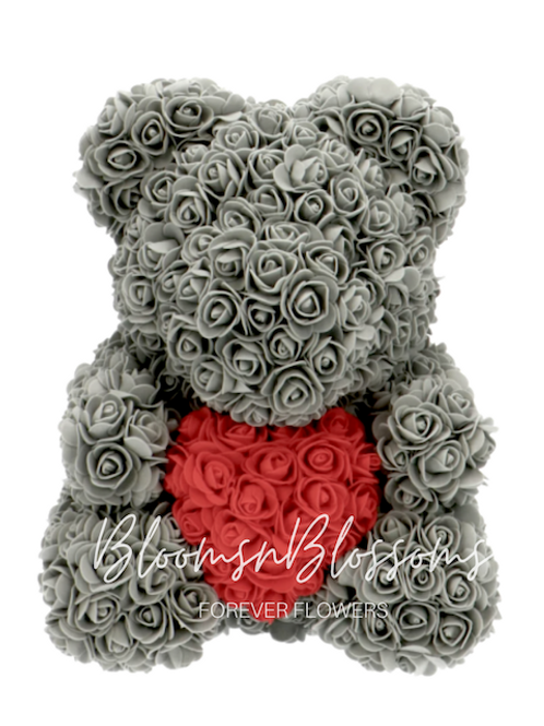 Rose Bear L Grey Red Heart