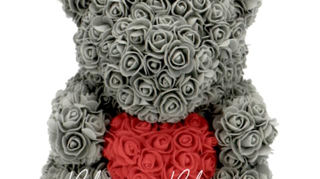 Rose Bear L Grey Red Heart