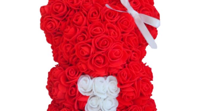 Rose Bear S Red White Heart