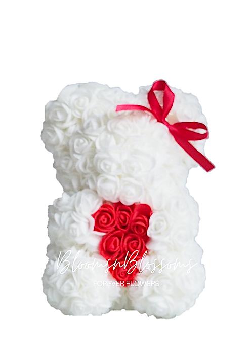 Rose Bear S White Red Heart
