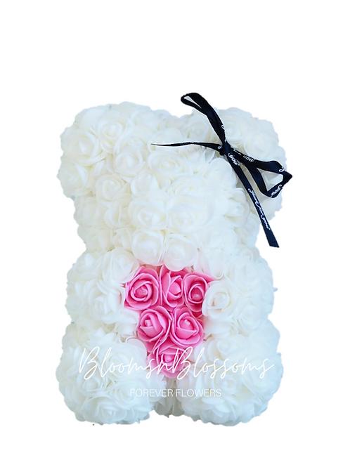 Rose Bear S White Pink Heart