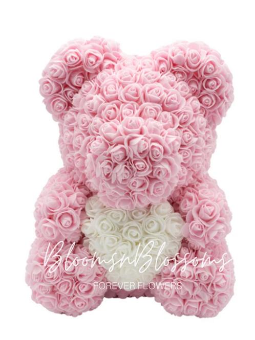 Rose Bear L Pale Pink White Heart