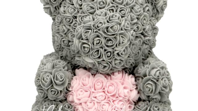 Rose Bear L Grey Pink Heart