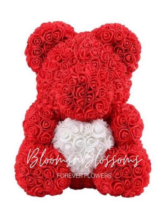 Rose Bear L Red White Heart