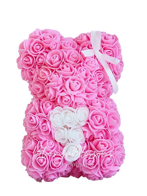 Rose Bear S Hot Pink White Heart