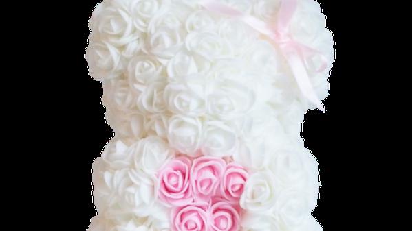 Rose Bear S White Pale Pink Heart