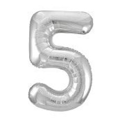 """Foil 34"""" Number Balloon - Silver 5"""