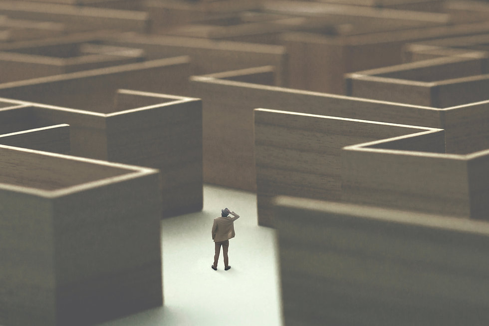 man lost in a complex maze, surreal conc