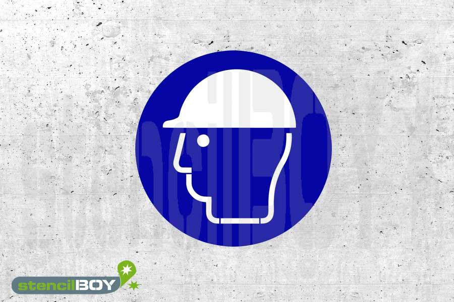 Schablone Kopfschutz benutzen