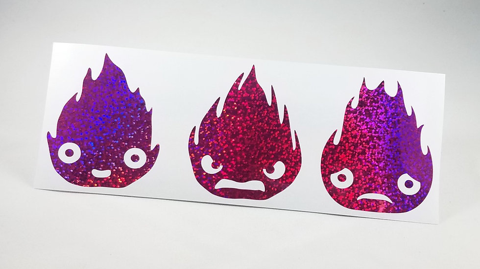 Calcifer - Die Cut Decal (Holographic Sequins)