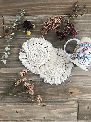 Drink Me Round Macrame Coasters - Set of 2