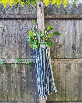 Fringe Plant Hanger - Blue Tie Dye