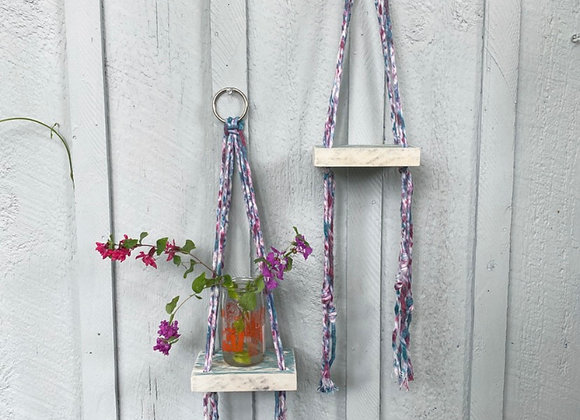 Tie Dye Macrame Shelf Duo