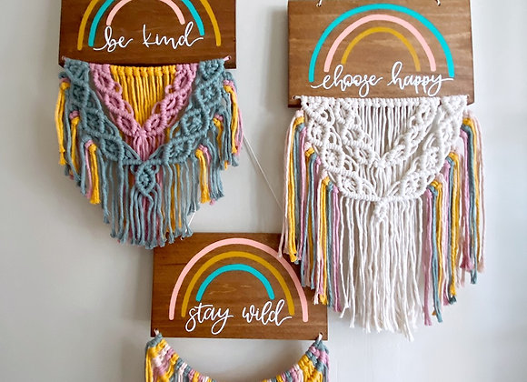 My Mini Maine x MW Designs Rainbow Macrame Signs