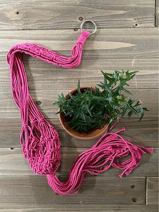 Macrame Plant Sling - Bright Pink
