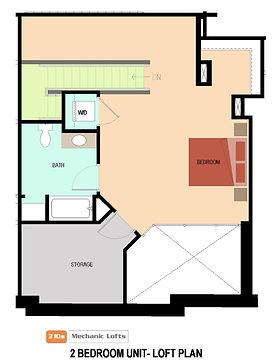 Jackson-2 bedroom (loft) 2nd floor plan.
