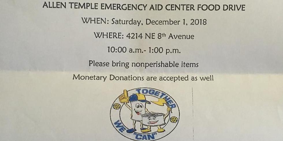ALLEN TEMPLE EMERGENCY AID CENTER FOOD DRIVE