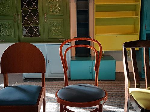 Naturel houten stoel, met bekleding