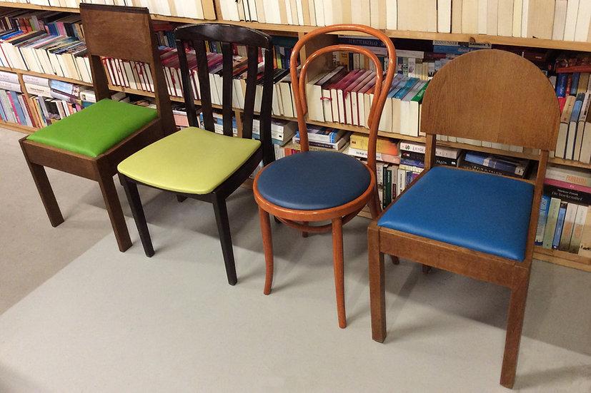 Naturel houten stoel met bekleding