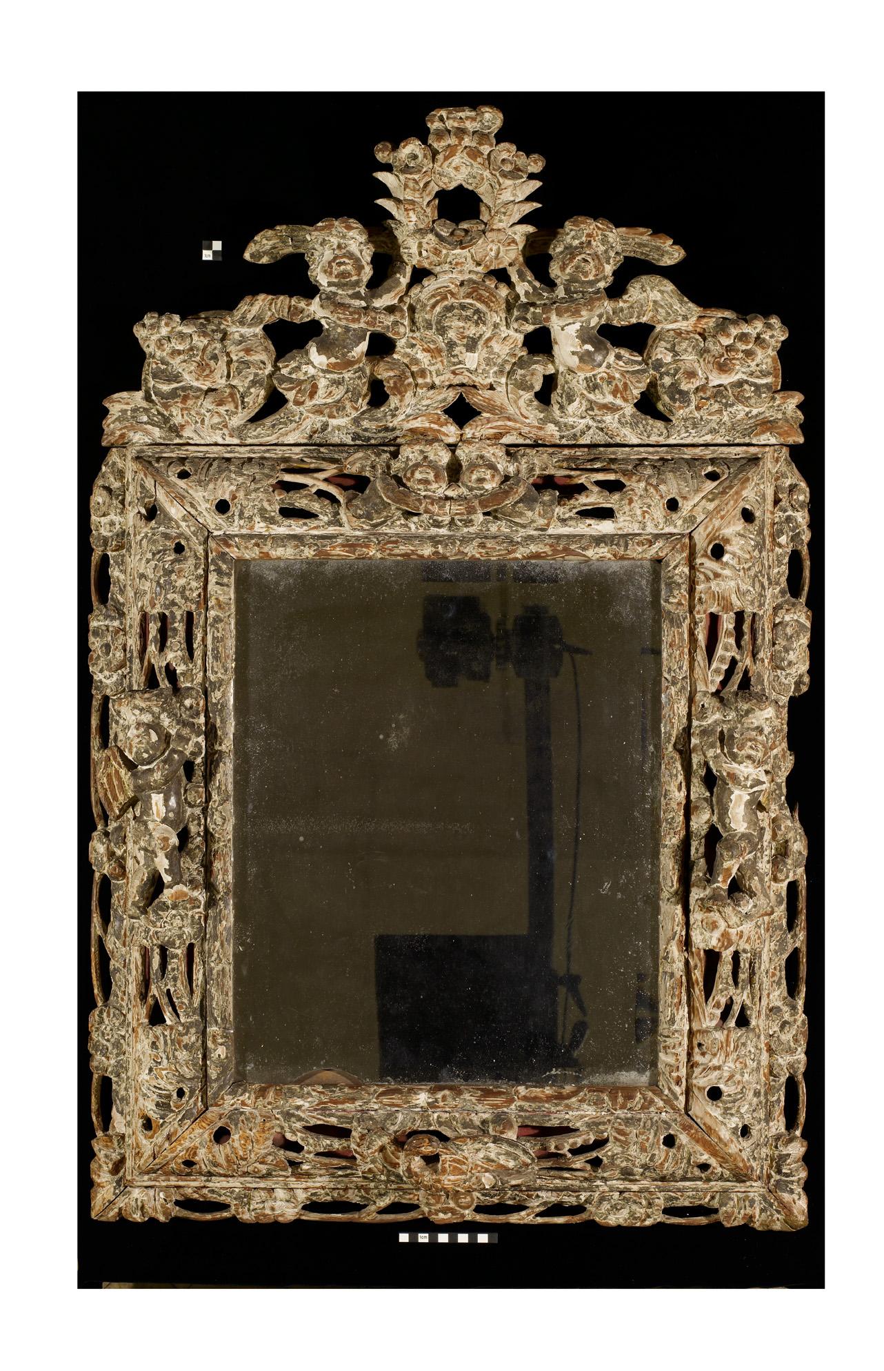 Silver leafed mirror frame c.1690