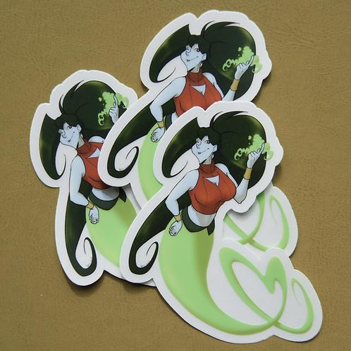 Green Heart Clear Cut Sticker